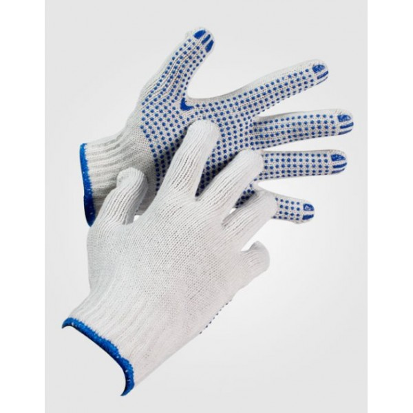 Gloves Wool White with Blue Beans Ν.10
